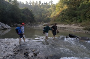 Hand in Hand is teamwork for success and crossing chilly unknown river