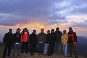 Deerwalk Sailung hiking team before the sunset