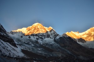 Sun rays spreading around Annapurna