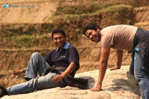 19. Nimesh and Ujjwal trying to pose for a photograph...