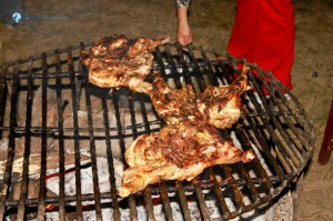 22. Three chicken in a grill