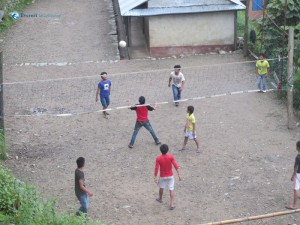 28. Locals playing volleyball