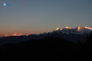 20. First rays of the sun on the mountain