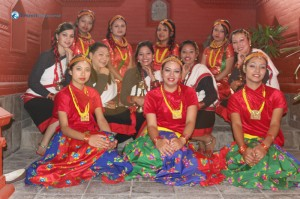 Deerwalk girls group in various traditional Nepali dresses