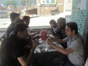 1. Members enjoying haluwa puri and patato fried