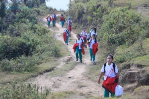 35. School Children Hiking to Kakani