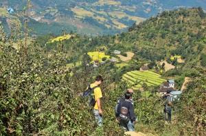 Down the steep path