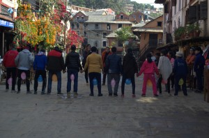 25. Kids playing with baloons in bandipur bazaar