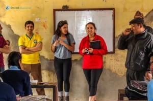14. Erica and Mahika in the classroom