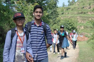 1. Two students leading the hike pause for a photo.