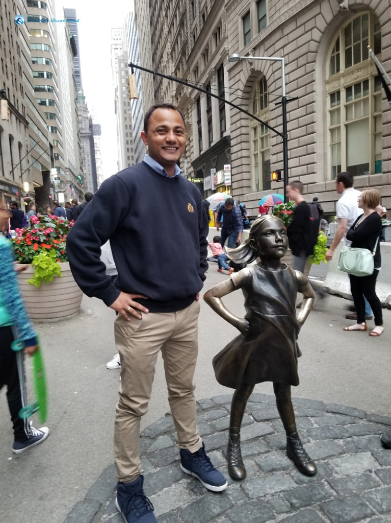With Fearless Girl New York