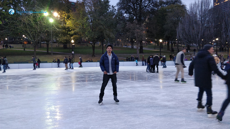 Ice Skating in Boston Downtown