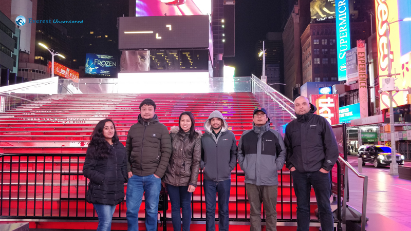 Late night visit Times Square with company