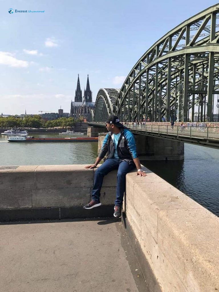 Enjoying the view with Cathedral and Love Locks Bridge in the background at Cologne City