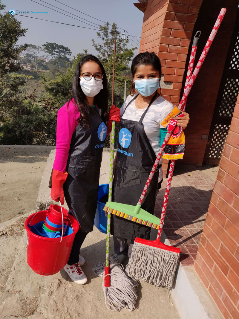 4 Barsha And Binita With The Cleaning Material