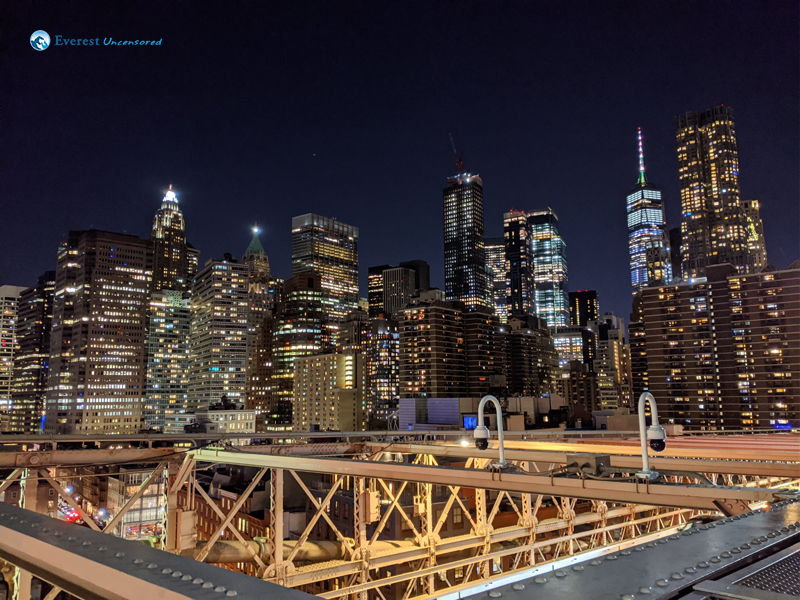 Night View Of Newyork From Brooklyn Bridge